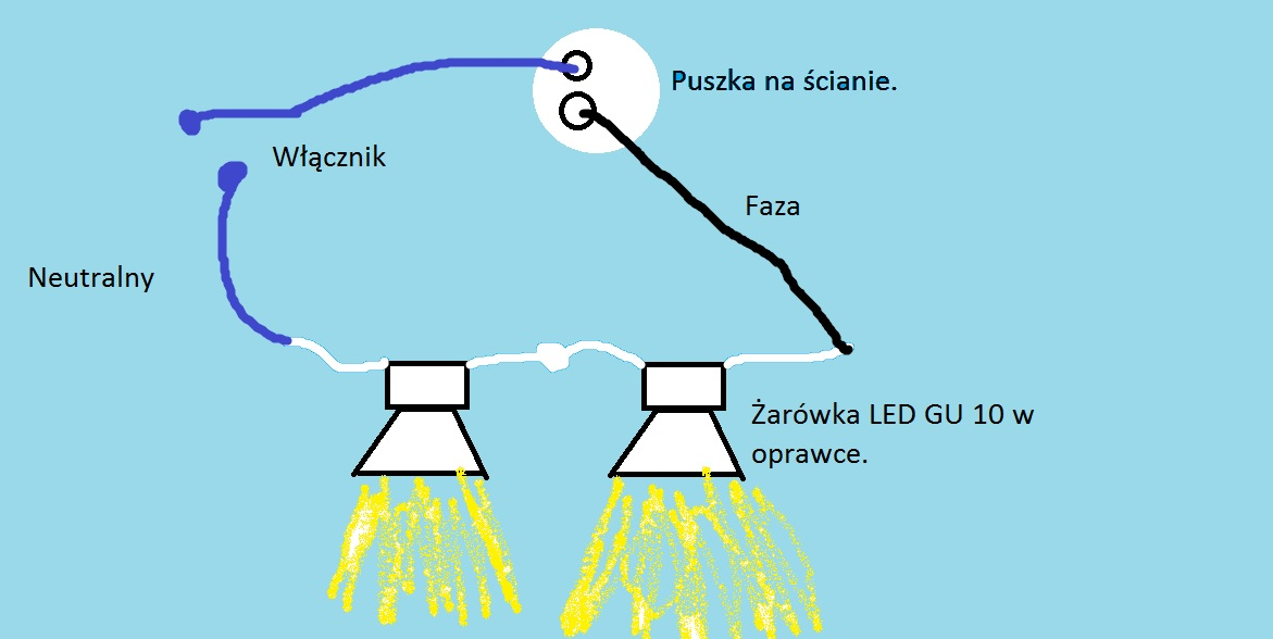 Pod��czenie o�wietlenia sufitowego LED GU 10 schemat