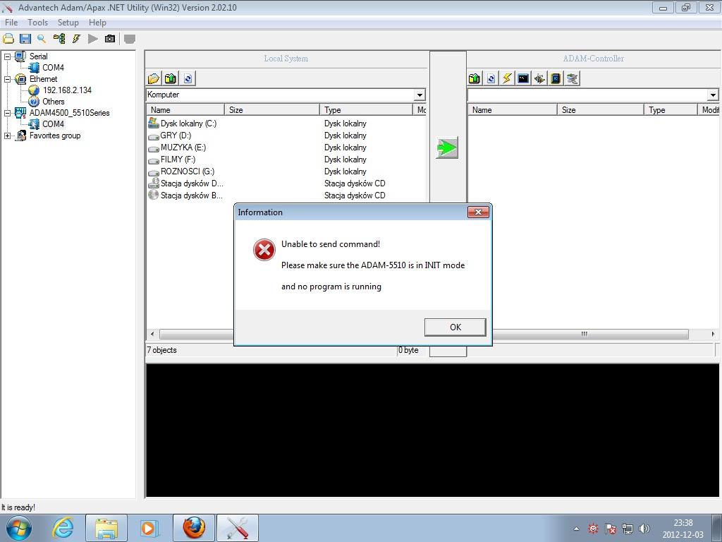 adam-4520 nie ��czy si� z PC