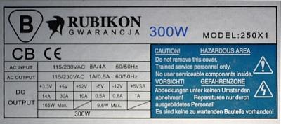 Codegen model: 250XA1 300W - rusza dos�ownie na chwilke i przestaje!