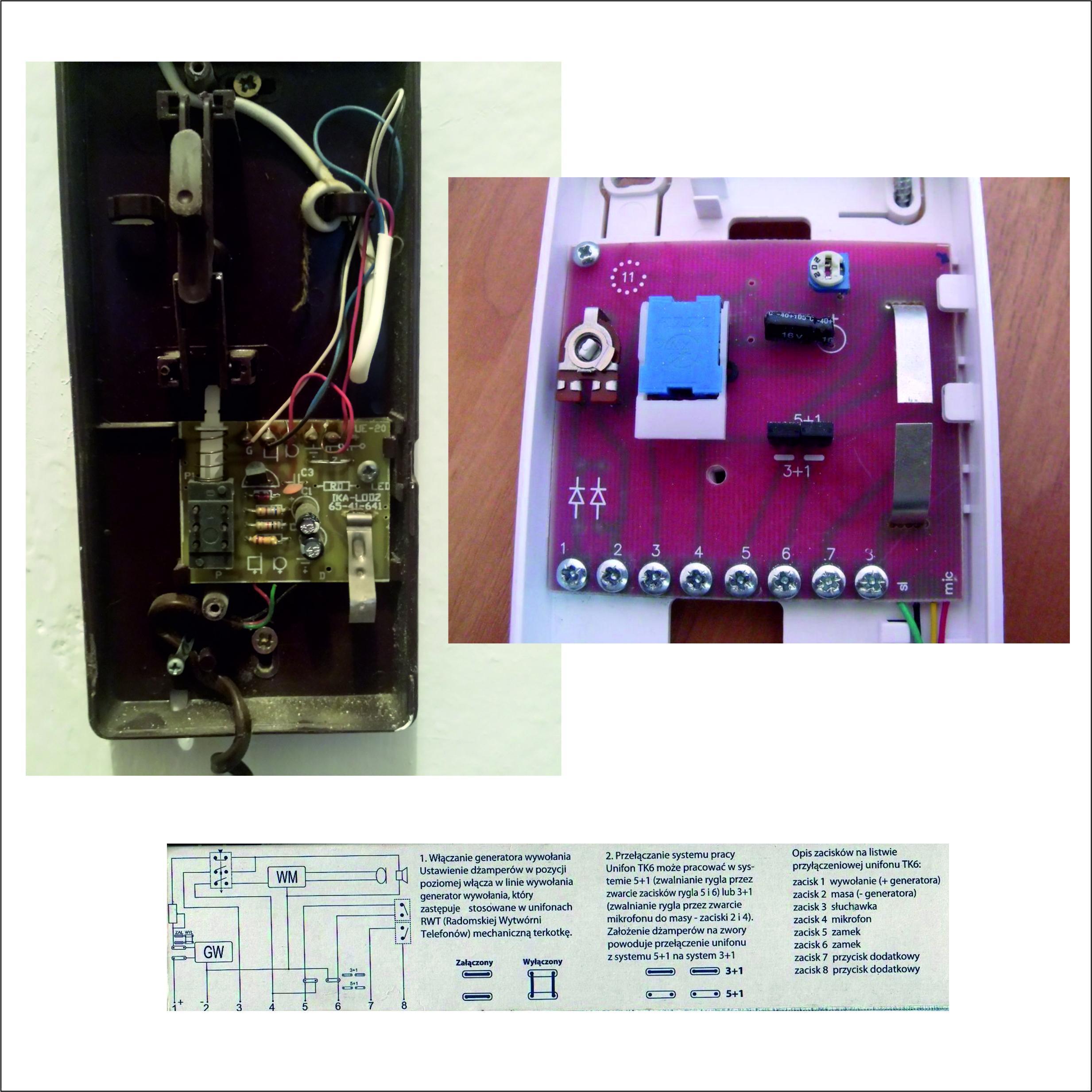Uniofon wekta tk-6 i instalacja 4 �y�owa jak pod��czy�