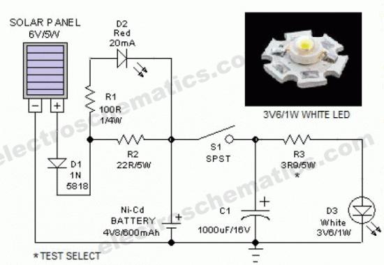 Эта схема представляет собой портативный фонарь, с использованием солнечных панелей 6 вольт на 5 Вт.