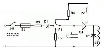 Coilgun 3-cewkowy zasilanie z baterii/sieci, ledowy woltomierz