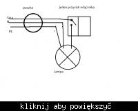 podpiecie lampy sufitowej do puszki i przełącznika dwuklawis