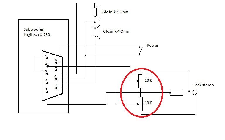 subwoofer x-232 logitech pod u0142 u0105czenie