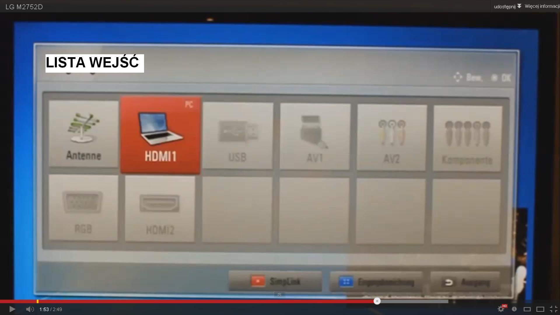 """LG M2752 Full HD Antena TVA500 - Nie """"widzi"""" anteny oraz nie znajduje"""