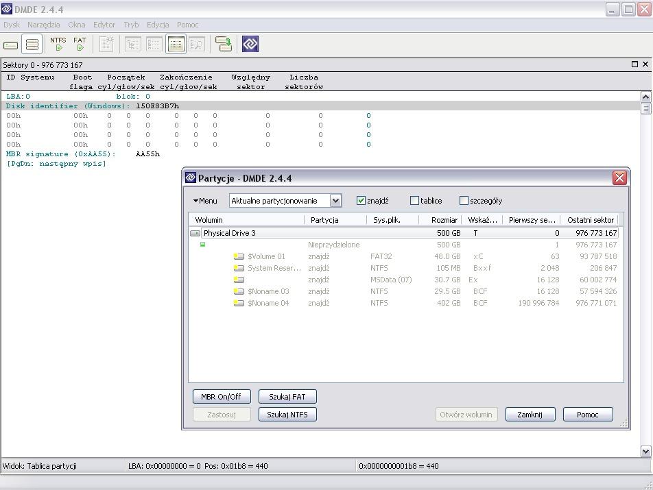 ST9500325AS 500GB Usuni�te partycje po konwersji na dynamiczny