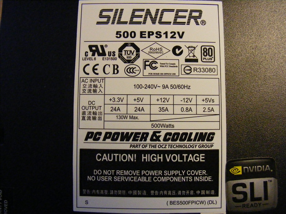 PC Power&Cooling,INC Silencer model: 500 EPS12V - jaki to kondensator C001?