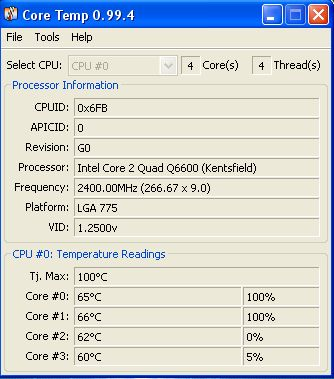 Temp. Core DUO Q6600 za wyska?