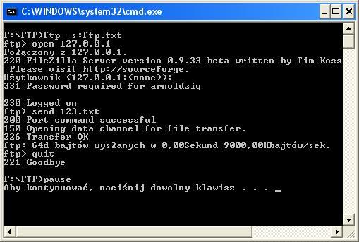 Wysyłanie plików poprzez FTP używając pliku BAT.
