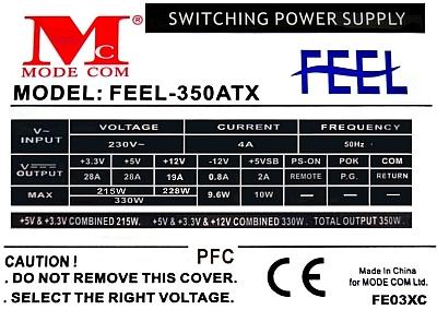 Mode Com model Feel 350ATX - pali plyty i ma dobre napiecia?