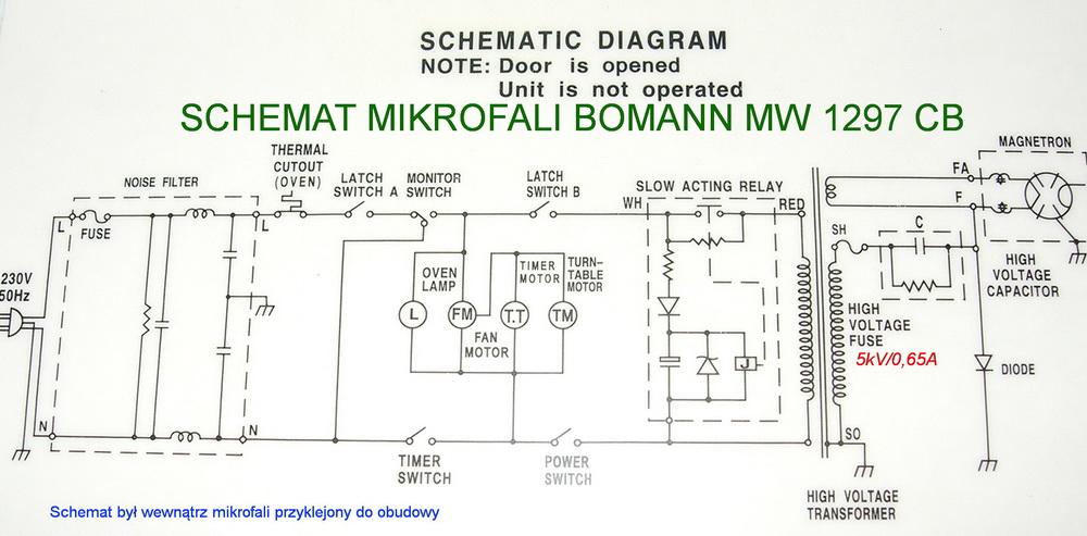 Przepalony bezpiecznik mikrofala BOMANN MW 1297 CB + SCHEMAT