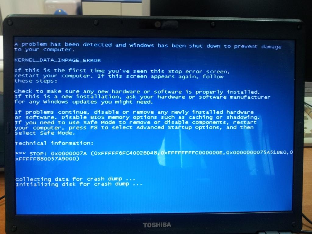 Permanentne BlueScreeny w laptopie Toshiba U300