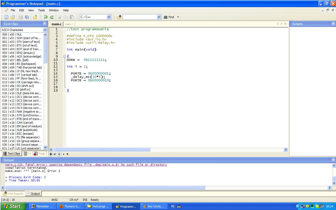 Programmers Notepad [WinAVR] - kompilacja