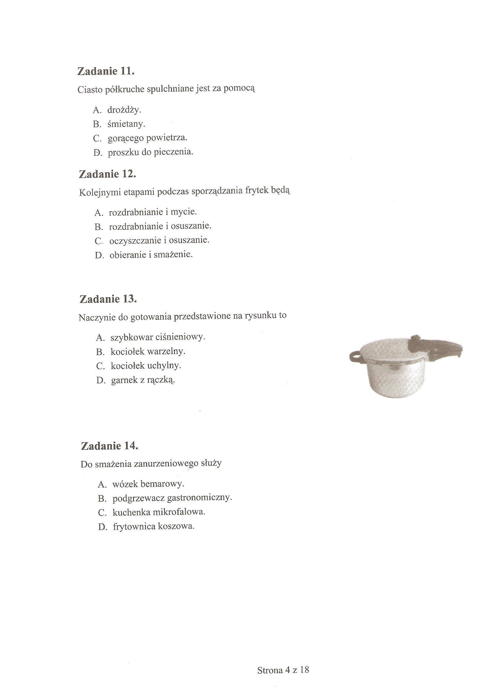 Egzamin Zawodowy 2011 - Kucharz ma�ej gastronomii