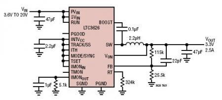 Monolityczny stabilizator impulsowy step-down z kontrol� pr�du i temperatury