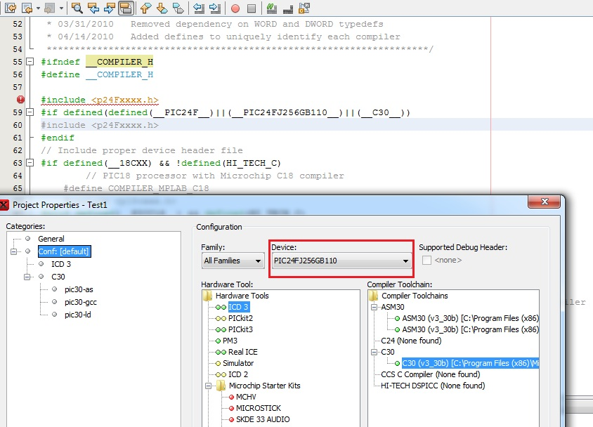 Mplabx konfiguracja projektu