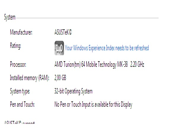 Asus F5 M - Windows 7 niski indeks wydajno��i systemu