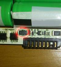 LI-Ion Samsung ICR18650-22F brak napięcia na wtyku baterii.