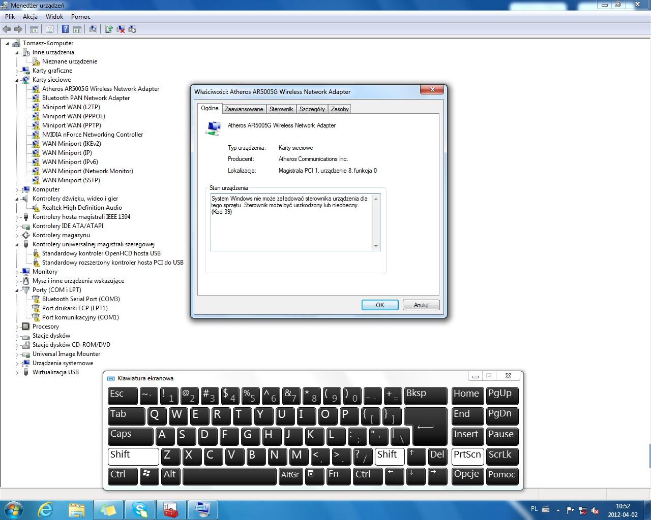 Windows 7 x64 - przesta�y dzia�a�: d�wi�k, sie�, USB, COM/LPT