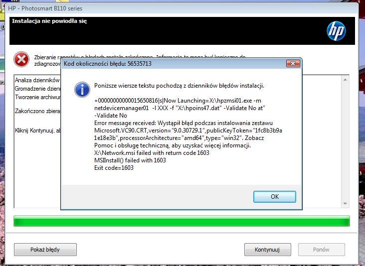 hp photosmart b110c series instalacja na windows vista b��d krytyczny 1603