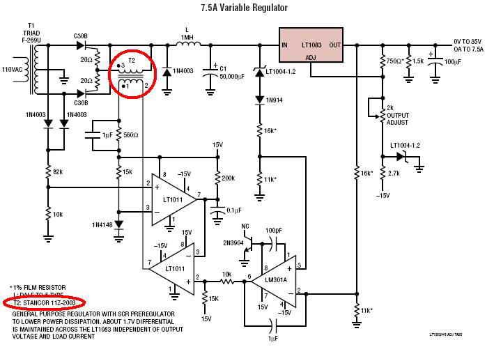 Aplikacja LT1083, transformator sterujący tyrystorami.