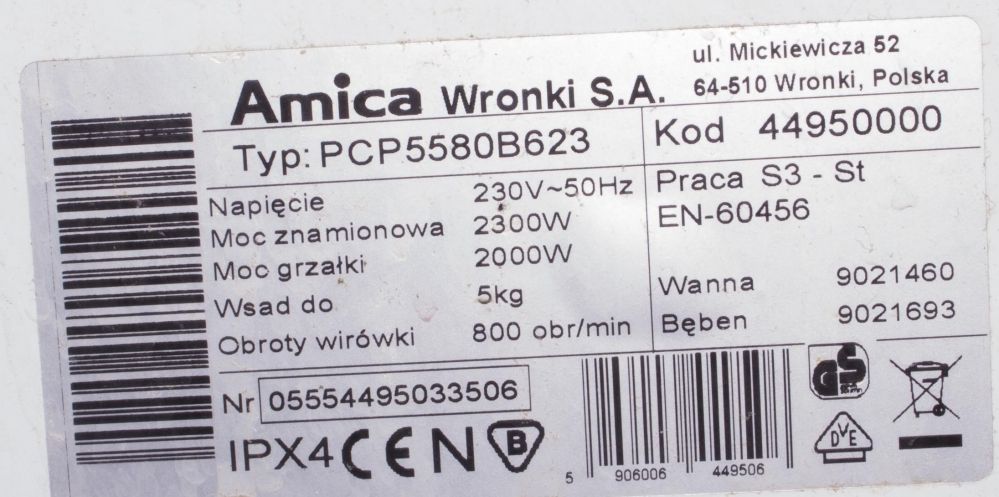 Amica PCP5580B623 - Czy do PCP5580B623 spasuje zbiornik z PCT5512B412?