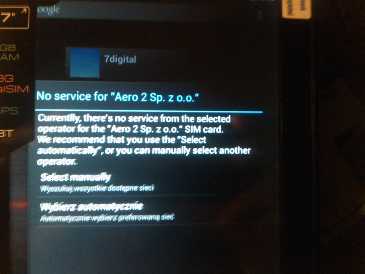 Tablet Overmav solution 7 II - a instalacja karty Aero2