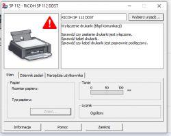 RICOH SP112 - Instalacja sterowników i wykrycie drukarki.