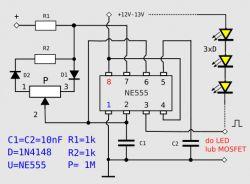 Który schemat regulacji jasności LED prawidłowy?