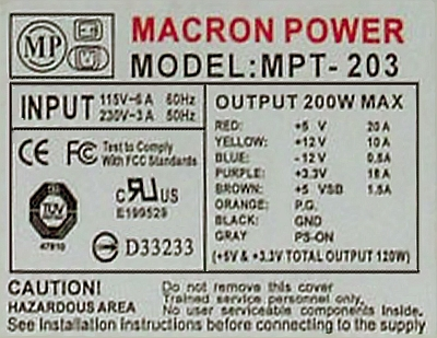 Macron Power model: MPT 303AT martwy spali� si� bezpiecznik.