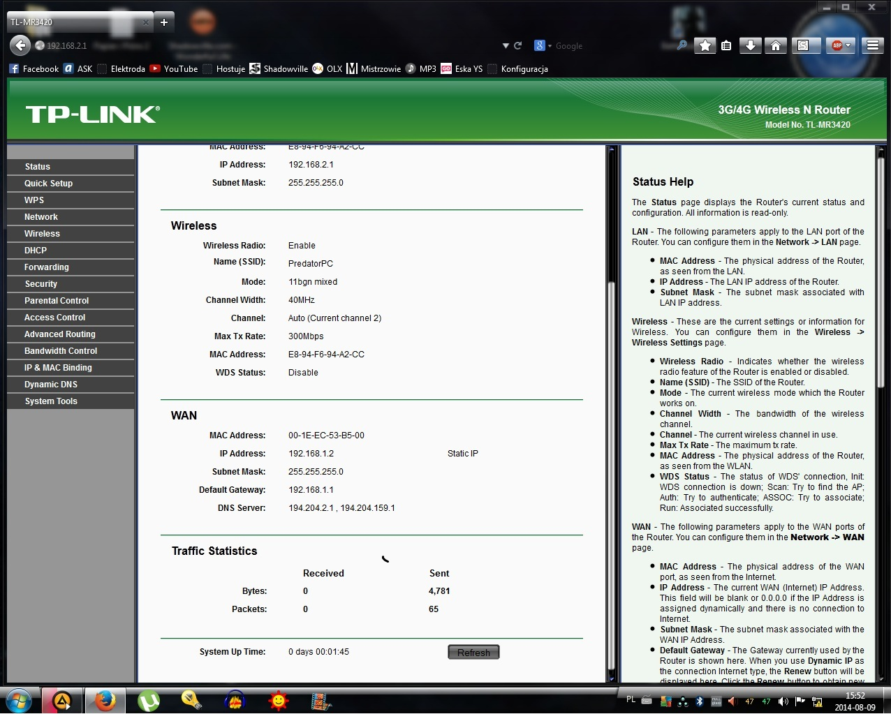 TP-Link MR3420 - Brak internetu.