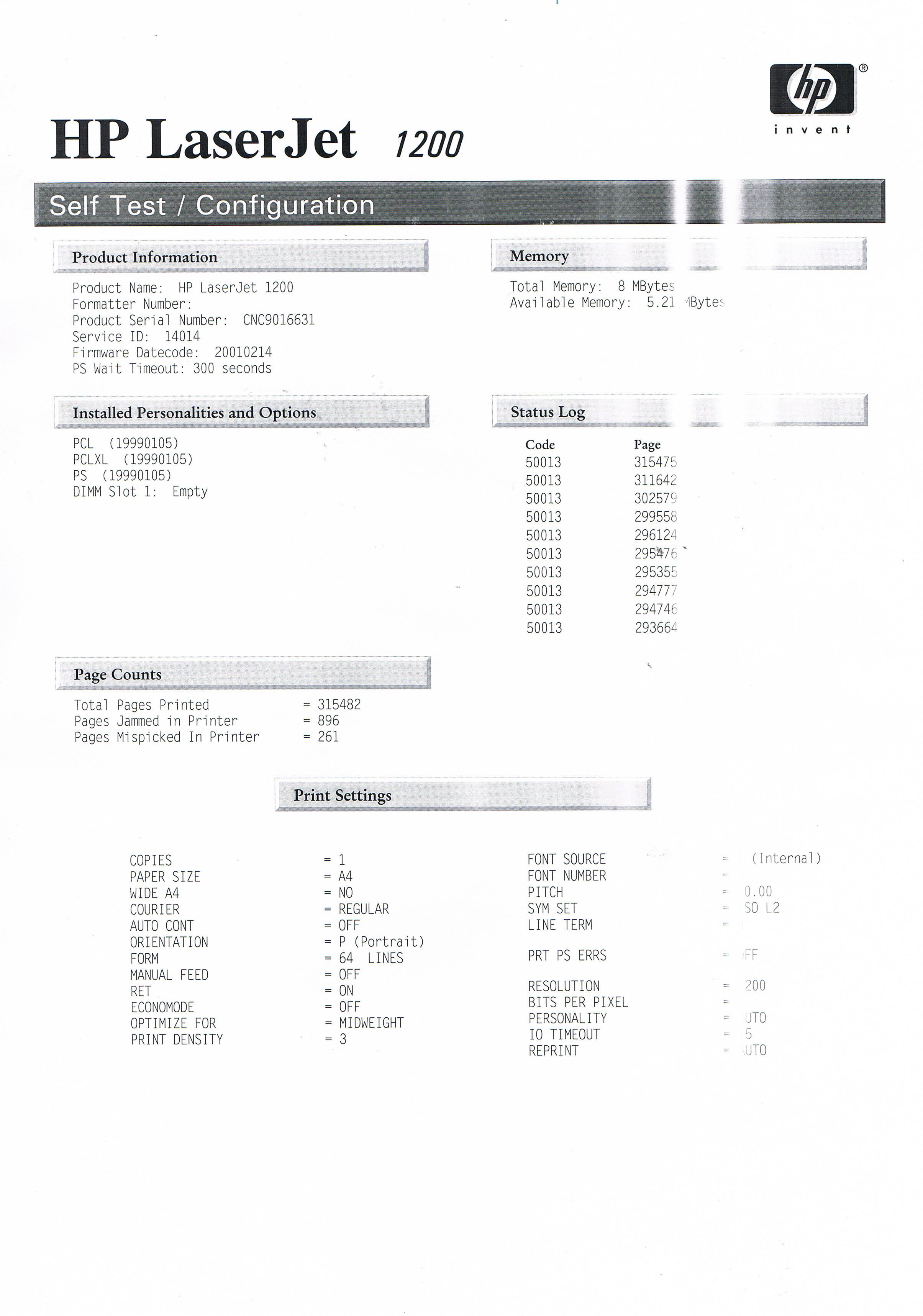 HP LJ1200 - nie drukuje na ca�o�ci kartki