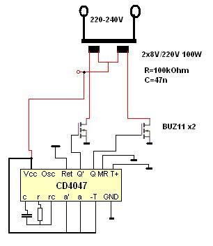 Przetwornica 12v 220v z transformatora.