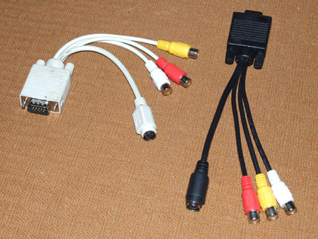 Fałszywe kable-przejściówki VGA S-Video plus 3xchcinch