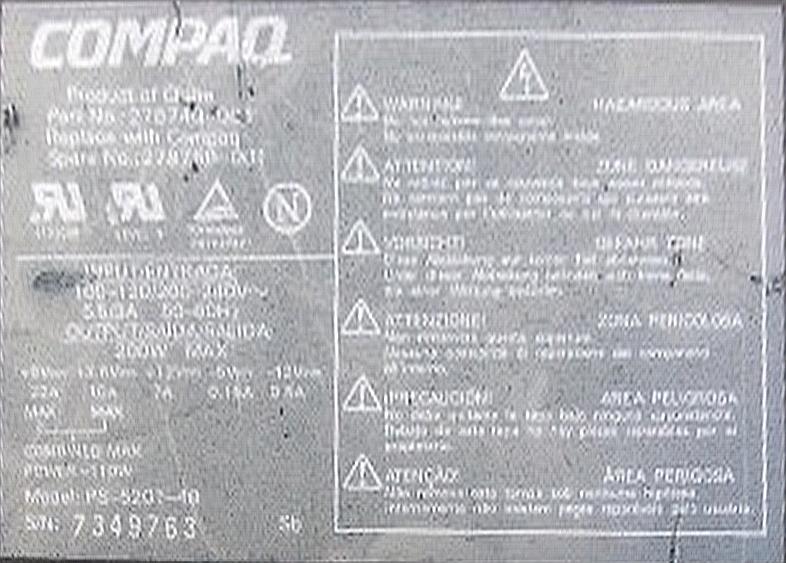 Compaq firmy LiteOn model: PS-5201-4B REV-F naprawa.