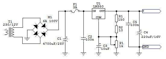 Zasilacz - stabilizowany 1A, regulowany 4,5-12V