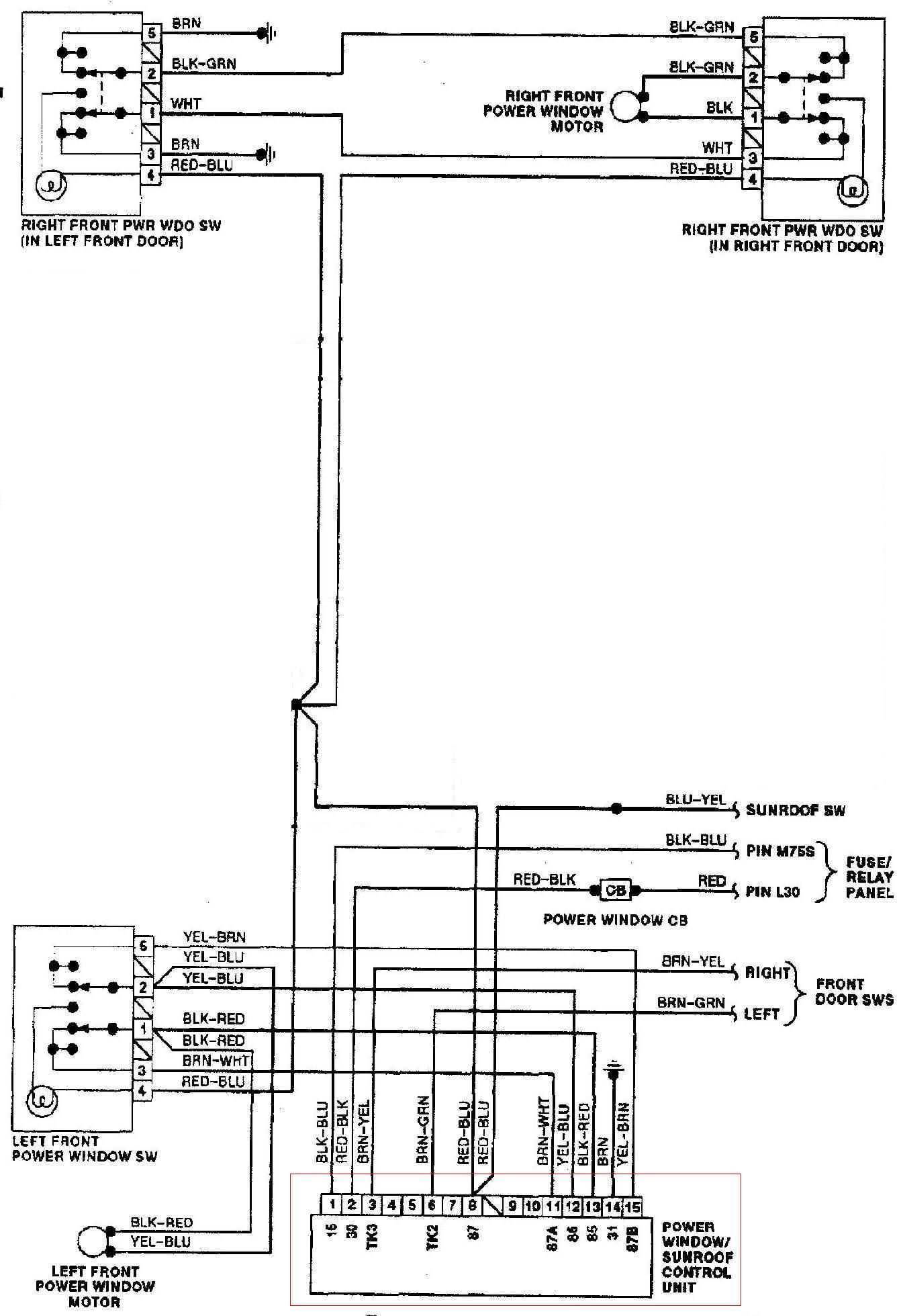 Pod�aczenie modu�u domykania szyb audi 80 B3