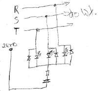 Sygnalizacja obecno�ci 3 faz na diodach LED
