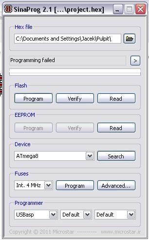 Programator USBasp kłopoty z zaprogramowaniem.