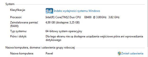 Windows 7 ultimate - X64 widzi tylko 3.25 GB pami�ci ram .