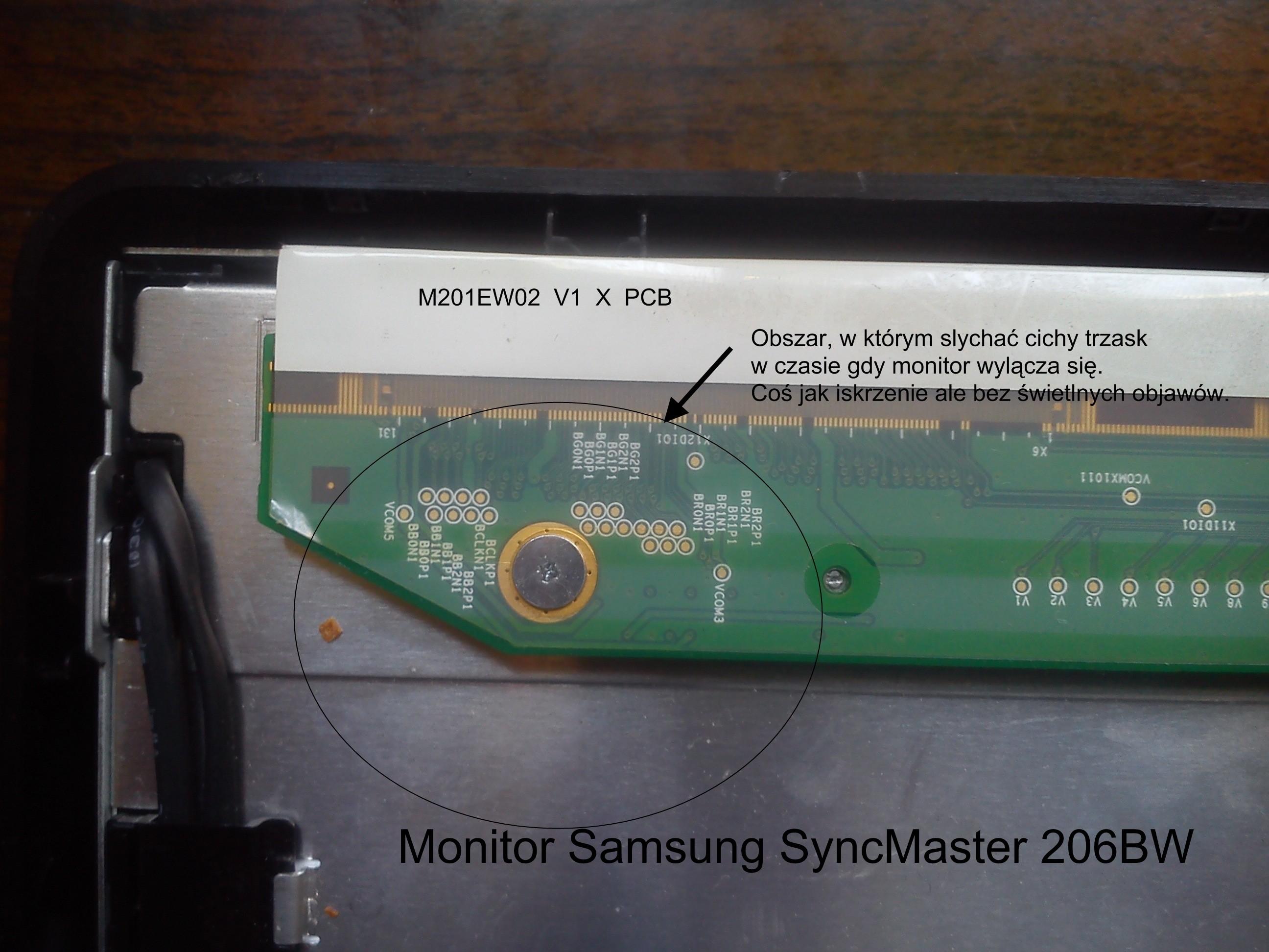 Monitor Samsung 206BW - Monitor po 1 sekundzie wy��cza si�