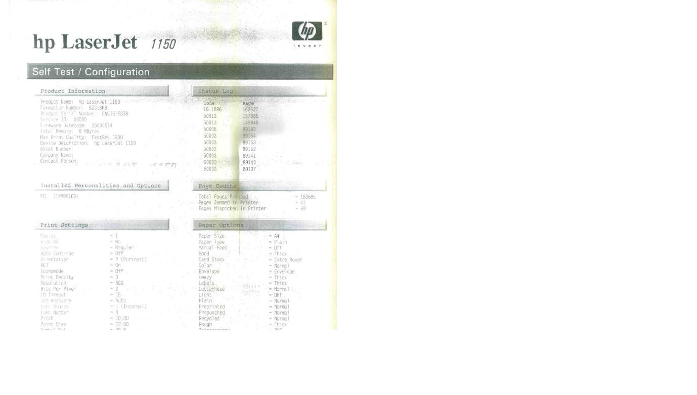 HP LJ 1150 - Powiela wydruk