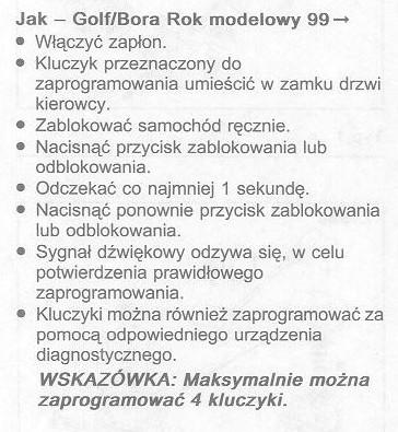 WV Bora 2000 1.9TDi - Kluczyk po zmianie baterii jak zap. ?