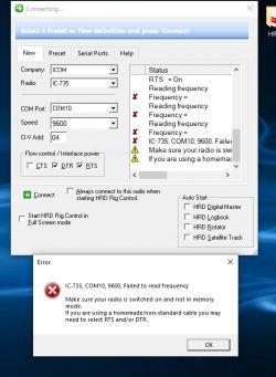 Icom735 + digi modem - brak sterowania z komputera