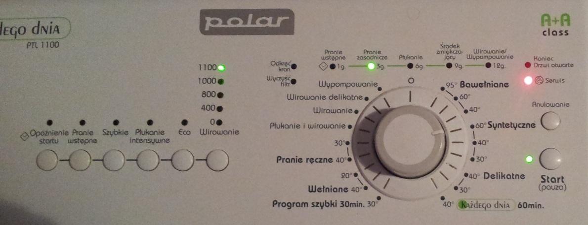 Pralka Polar PTL1100 - Kontrolka serwis