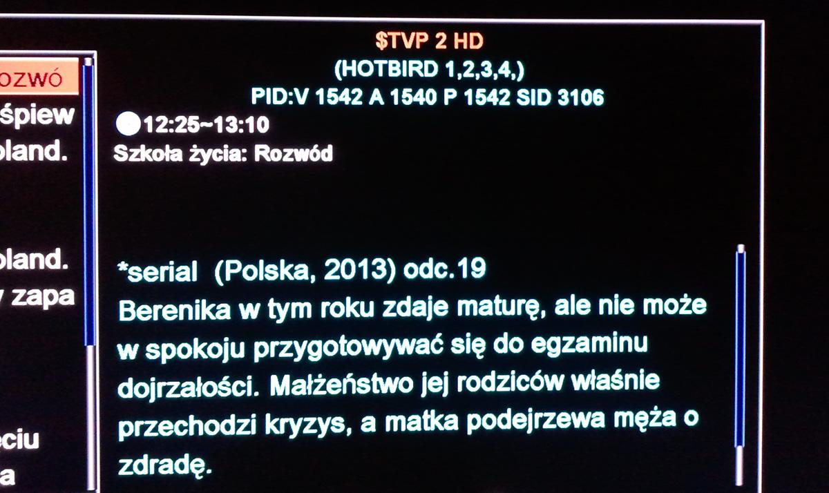 Skybox F5S - Nie ma obrazu na TVP2 HD, tylko d�wi�k
