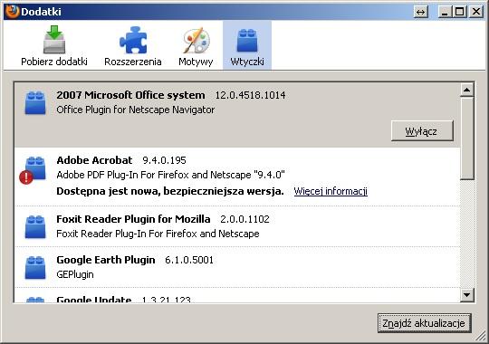 Firefox - po uruchomieniu sprawdzanie wtyczek, nowa karta. Jak wy��czy�?