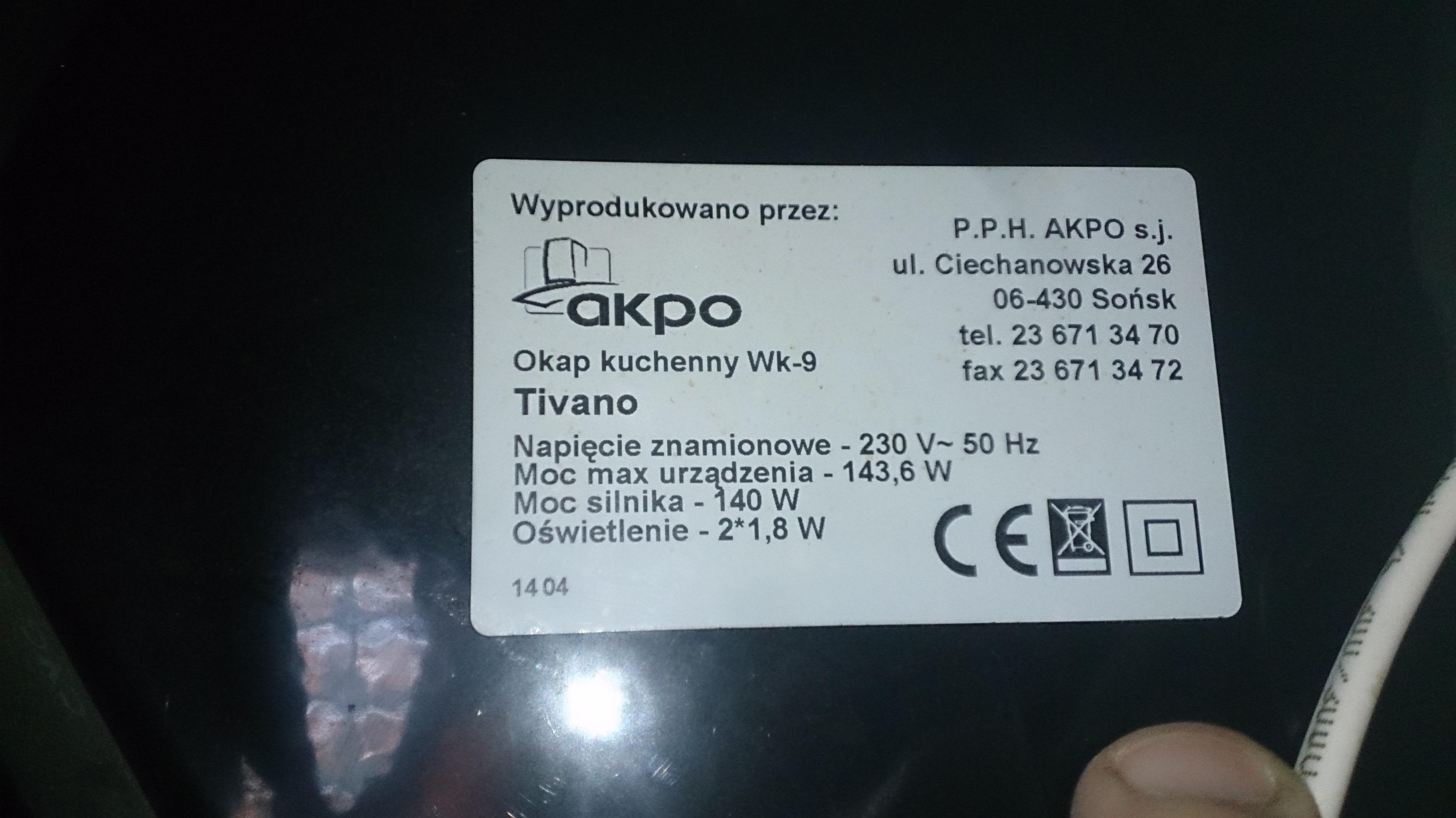 Okap Kuchenny Akpo Wk 9 Tivano Zmniejszenie Obrotow Wentylatora