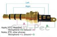 Słuchawki z mikrofonem - wymiana jacka 3.5mm (5 drutów)