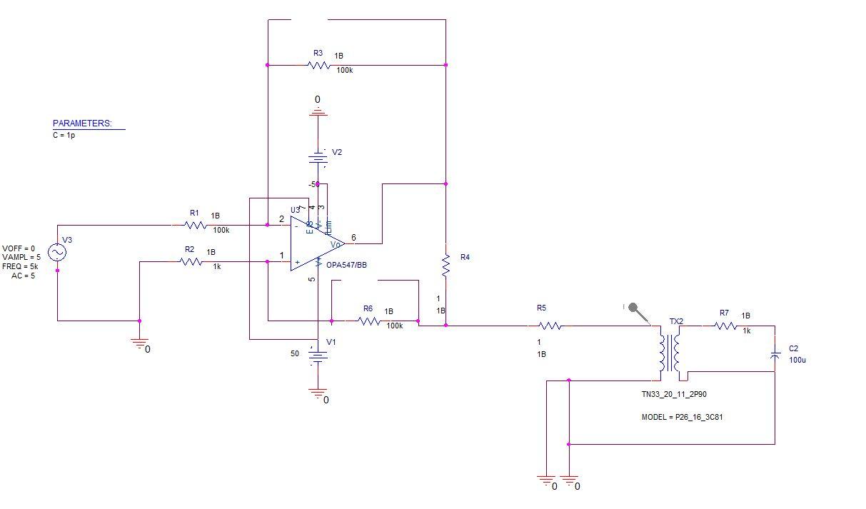Wzmacniacz mocy sygna�u sinusoidalnego +-500mA - obci��enie indukcyjne